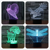 Eagle Bird Snail Insect 3D Led Visual Touch Light Bedroom Desk Table Lamp USB Power Optical