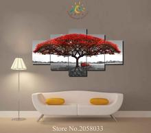 3-4-5 Pieces Red Tree Pictures Modern Wall Art HD Printed Canvas Painting Modular Paints Home Decoration