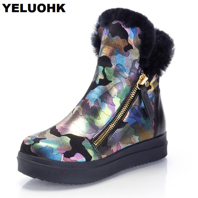 Brand Camouflage Snow Boots Women Genuine Leather Shoes Warm Winter Boots With Fur Platform Ankle Boots For Women Plush