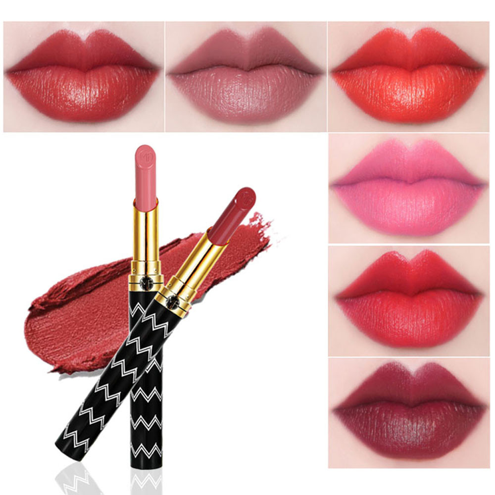 2018 Brand New12 Color Cosmetics Matte And Pumpkin Color Bean Paste Lip Solid Gloss Lipstick Makeup Natural Woman Gift Free Ship 6