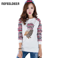 Pullover Women Hoodies Sweatshirts 2015 Autumn Korean Style Owl Printed Hoodies Ladies Long Sleeve Cotton Cute