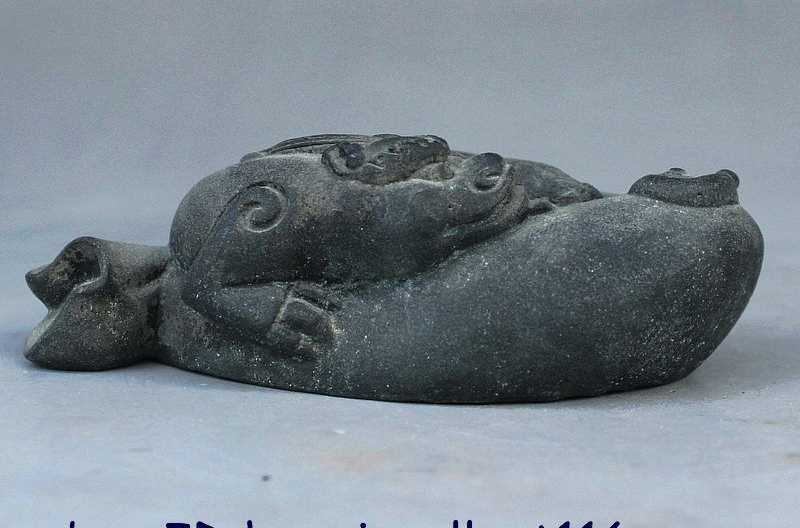 Fengshui הסינית ברונזה פסל PiXiu חית Kylin צ 'י לין Qilin כסף תיק