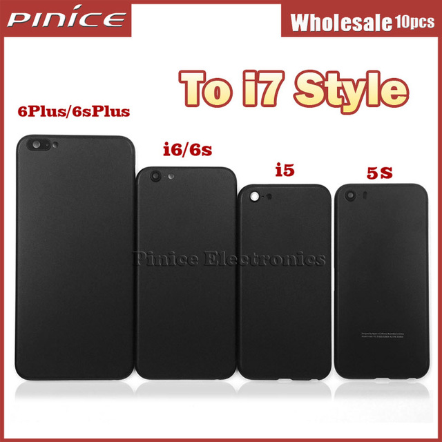 Matte Black Housing For iPhone 5 5S 6 6S 6s Plus Aluminum Metal Back Case Battery Door Cover Replacement Like 7 style DHL Free