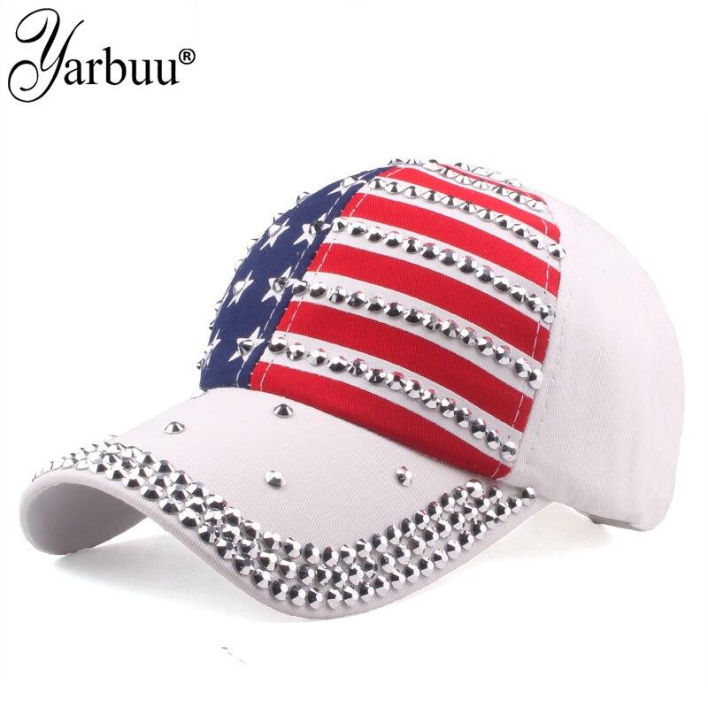 [YARBUU] haute qualité USA drapeau casquette de Baseball hommes femmes aigle Snapback os décontracté soleil Golf chapeau strass étoile Denim casquette chapeau