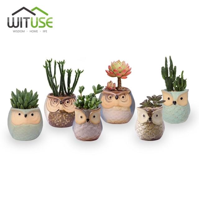 WITUSE 1PC Cute Owl Ceramic Plant Pot Decorative Flower Pot Garden Pots  Planter Mini Bonsai Vase