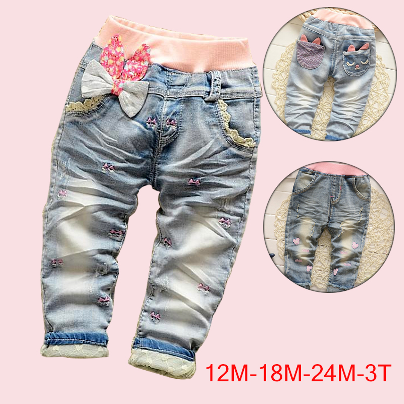 High quality 2017 New Arrival Butterfly Knotted Baby Girl jeans Long Pants Kids jeans baby Denim pants Length Trousers for 1-3Y