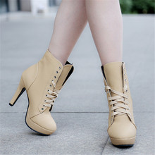 Women boots sexy high heels platform ankle boots for women botas femininas mujer lace up night high heel boots 34-43 OR915549