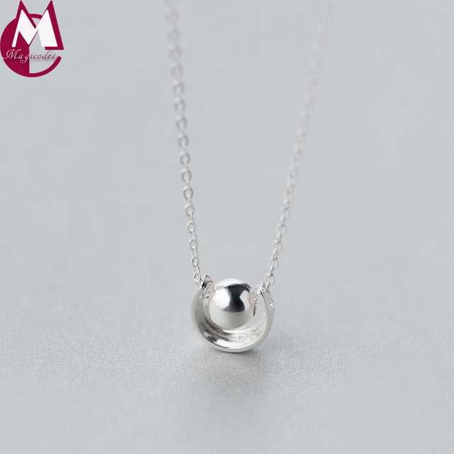 925 sterling silver necklace for women round pendants original 925 sterling silver necklace for women round pendants original design anime simple long chain fashion jewelery mozeypictures Images