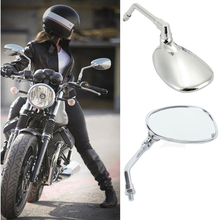 10MM Motorcycle Chrome Rearview Side Mirrors For Honda Kawasaki Suzuki Cruiser Scooter Cafe chrome skull hand rearview mirrors for victory hyosung kymco scooter gy6 49 50cc