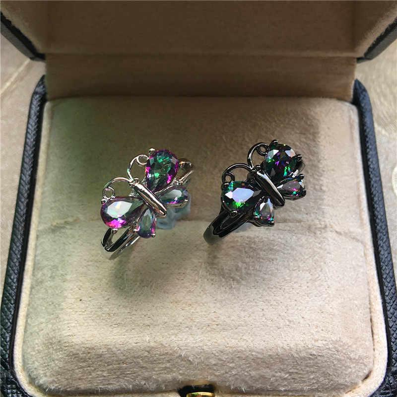 แฟชั่นสีสันผีเสื้อ Zircon แหวนสายรุ้งน่ารัก Silver & Black Gold สี Party แหวน Vintage สำหรับแหวนผู้หญิง