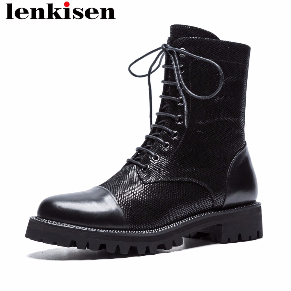 Lenkisen rock motorcycle boots med heels solid round toe sheep leather zipper spring autumn concise brand women ankle boots L03 цена