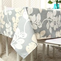 High Quality Cotton Thick Canvas Tablecloth Activity Printing Gray Rattan Leaf Table Cloth