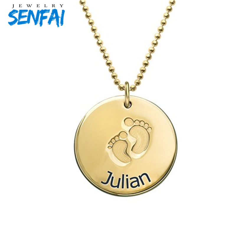 Gold Plated Custom Baby Feet Necklace New Design Fashion Names Pendant for Name Collares Chokers