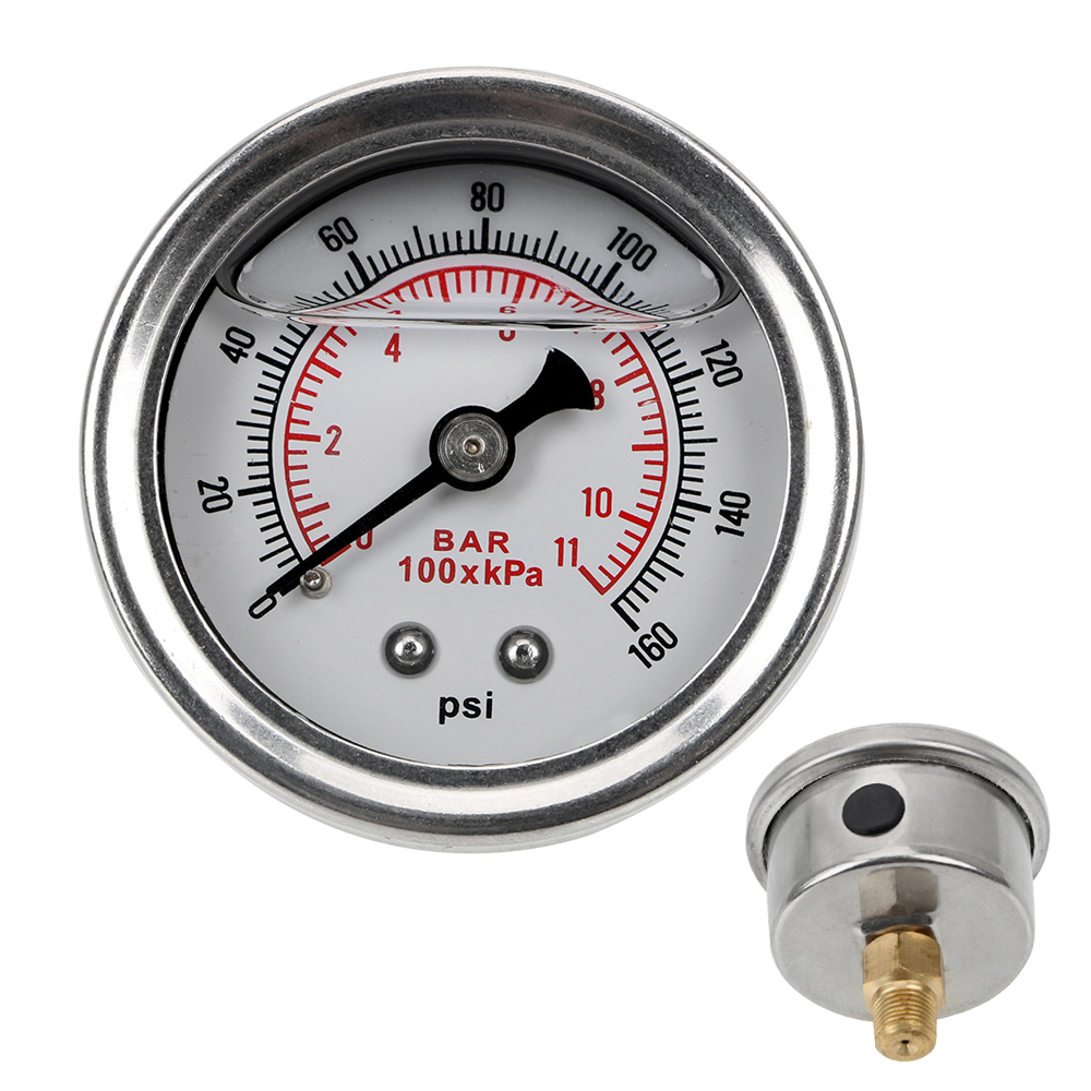 NICEYARD Fuel Pressure Gauge Meter Liquid 0-160 Psi 1/8 NPT For Auto Universal Tester Monitoring System Liquid Oil Press Gauge