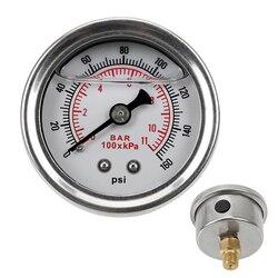 NICEYARD paliwa miernik miernik ciśnienia cieczy 0 160 psi 1/8 NPT dla Auto uniwersalny Tester systemu monitorowania cieczy manometr do pomiaru ciśnienia paliwa w Manometry od Narzędzia na