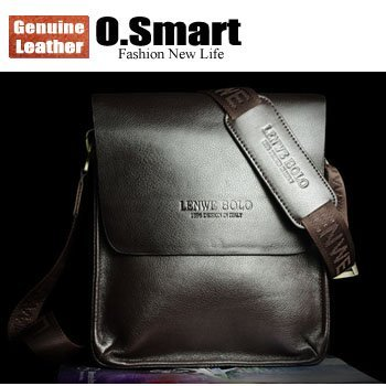 O.SMART Brand name Leather mens Shoulder bags handbag + 2012 Fashion designer brown man clutch bag + High quality business bag