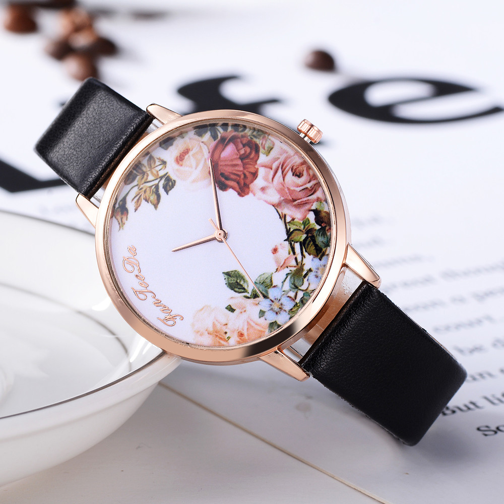 Honorable Luxury Brand Watches Rose Printed Watch Women Quartz Watch Elegant Popular Ladies Dress Wristwatch Girl Clock Reloj *A