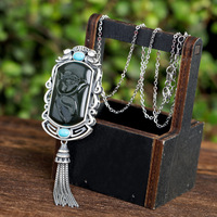 Vera Polaroid S925 Silver pendant inlaid with natural Hetian Jade, Jade, Peony, Magpie, Turquoise and Pearl Pendant