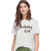 SexeMara Women birthday girl Letter Print t shirt Women fashion T-shirt tumblr clothing tops Tees Letter printed hipster shirt letter square print t shirt