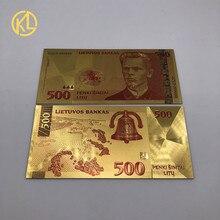 1 шт. цветной литовский лит 500 позолоченный пластиковый банкнот для popuplar poet Vincas Kudirka сувенирная коллекция
