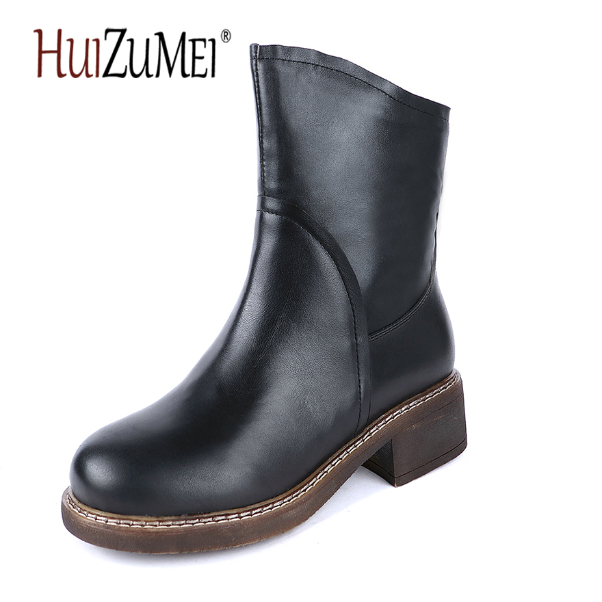 HUIZUMEI New women 's boots Winter boots retro round toe genuine handmade ladies leather ankle martin Boots huizumei new genuine leather women s