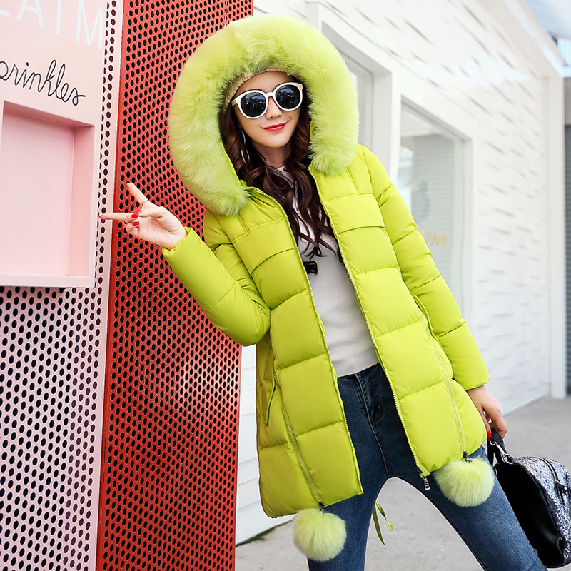 2017 Europe and America Fashion Large Fur Collar Winter Parka Women Slim Long Clothing Thickening Jacket Female Plus Size Coat