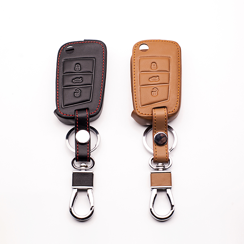100% leather car key caseKeyboard cover for Volkswagen Golf Case 7 GTI MK7 POLO For Skoda Octavia A7 protect shell Car wallet