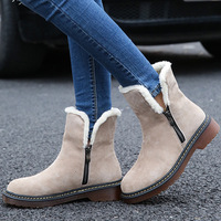 2017 New Autumn Winter Boots Leather Suede Women Flat Snow Boots Warm Plush Female Shoes Plus