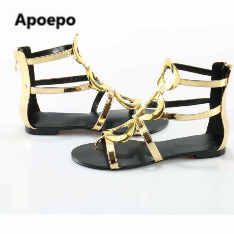 259b2052fefe3 Sales-brand-Metallic-Gold-Patent-Leather-New-Circle-Sandals -Women-Gladiator-Summer-Flats-Boots-Zip-Cut.jpg
