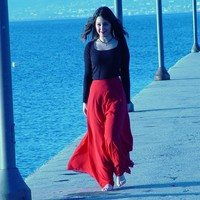 Praia estilo mulheres bonitas saias custom made a line até o chão maxi saia de chiffon vermelho saia longa estilo casual