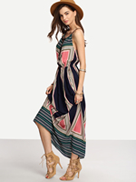 Bohemianach Casual Women Long Dress Print Collect Waist Dresses Design And Color 5687