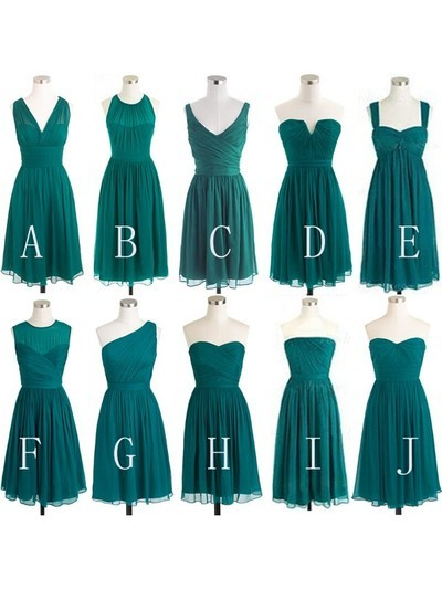 Short Teal Chiffon Mismatched Cheap Simple Convertible Plus Size