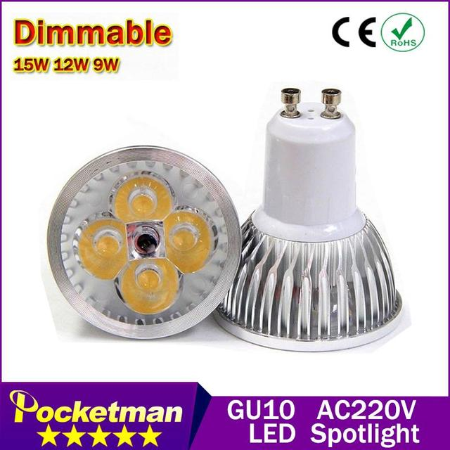1PcsFree shipping High power CREE Led Lamp Dimmable GU10 9W 12w 15w 85-265V Led spot Light Spotlight led bulb downlight lighting