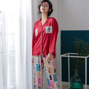 Image 3 - 2019 スタイリッシュな女性パジャマセットシルクサテンパジャマ春夏長袖パンツツーピースのスーツのホームウェアパジャマファム P 1032