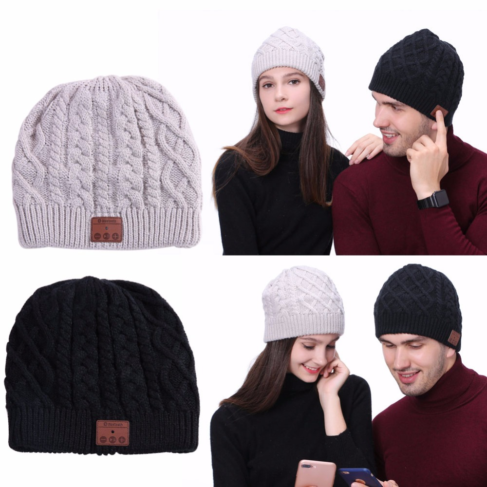 Wireless Bluetooth 4.1 Beanie Cable Knit Cap Headsets Sync with Cell Phone Multi Functional 2 Stereo Speakers Smart Cap Sport hot winter beanie knit crochet ski hat plicate baggy oversized slouch unisex cap