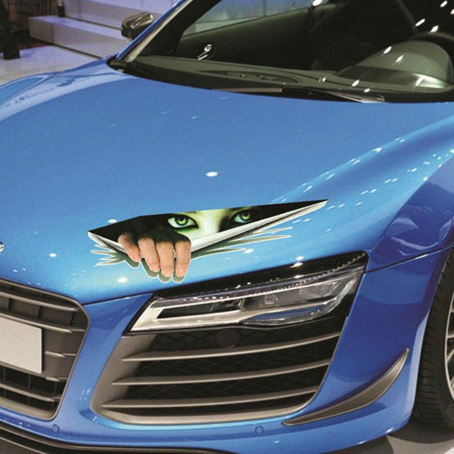 Cool car sticker design - New Funny Car Sticker 3d Eyes Peeking Monster Voyeur Car Hoods Trunk Thriller Rear Window Decal