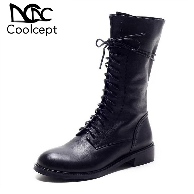 Winter Women Boots Genuine Leather Round Toe Lace Up Half Boots Ladies Flat Botas Mujer Riding
