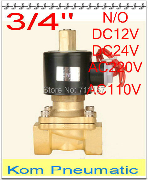 "Pneumatic Normally Open Electric Solenoid Valve Water Air Gas Oil,2w200-20 N/O 3/4"" Inch,12v 24v DC 110V 220V AC"
