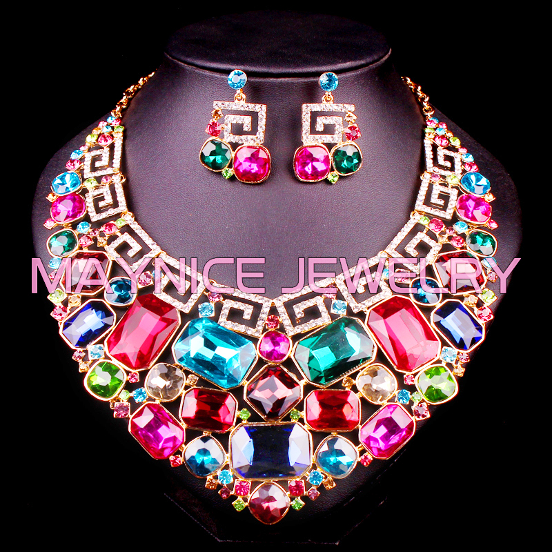 Gorgeous Crystal Indian Bridal Jewelry Sets Wedding Necklace Earrings sets for Brides Party Costume Accessories Decoration Women