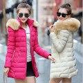2017 nuevo invierno algodón de las mujeres de Corea Slim y largas secciones gruesa capucha de down acolchado damas de la moda salvaje caliente