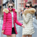 2017 winter new women's cotton Korean Slim and long sections thick hooded down padded ladies fashion wild warm