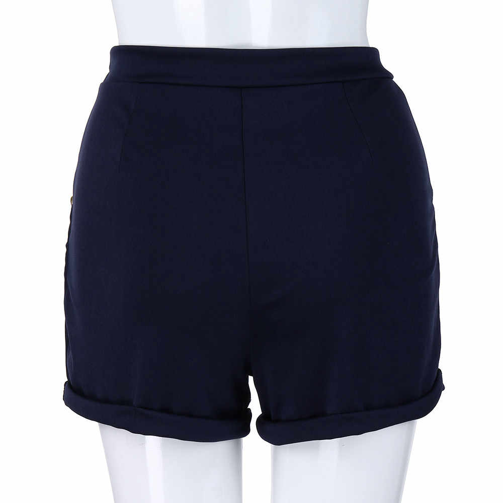 Plus Size S-5XL Zomer Shorts vrouwen Mode Polyester Casual Solid Skinny Rits Hoge Taille Hot Shorts feminino