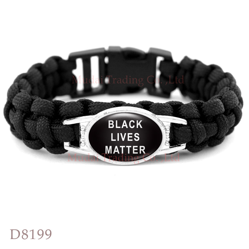 (10 PCS/lot) Black Lives Matter This Stops Now Don't Shoot I Can't Breathe Not One More Black Paracord Survival Bracelet