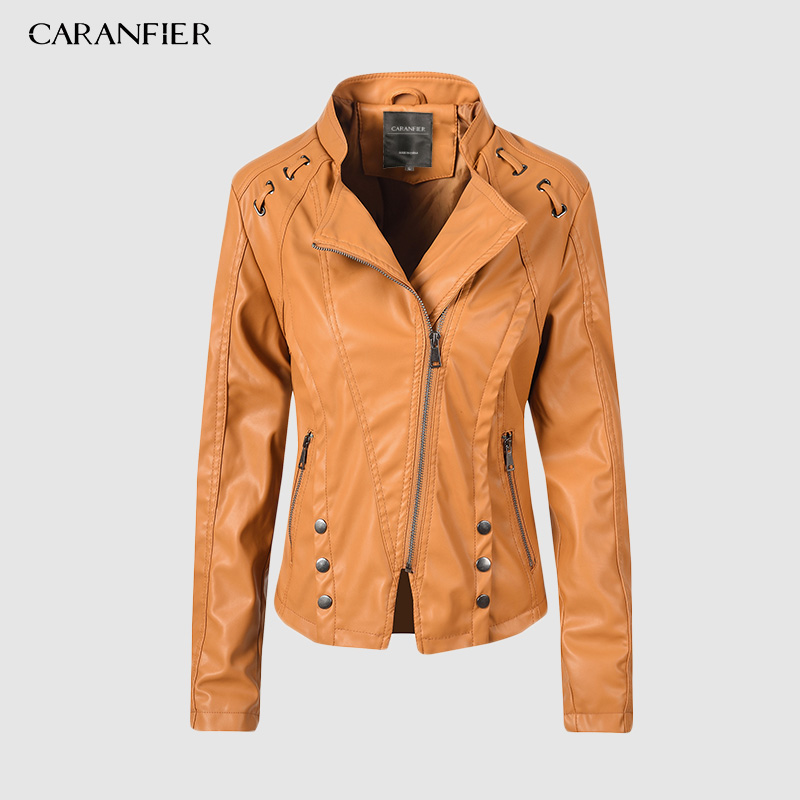 CARANFIER Faux   Leather   Jacket Women Spring Zipper Ladies   Suede   Motorcycle Punk Biker Jackets Street Long Sleeve Biker Jacket