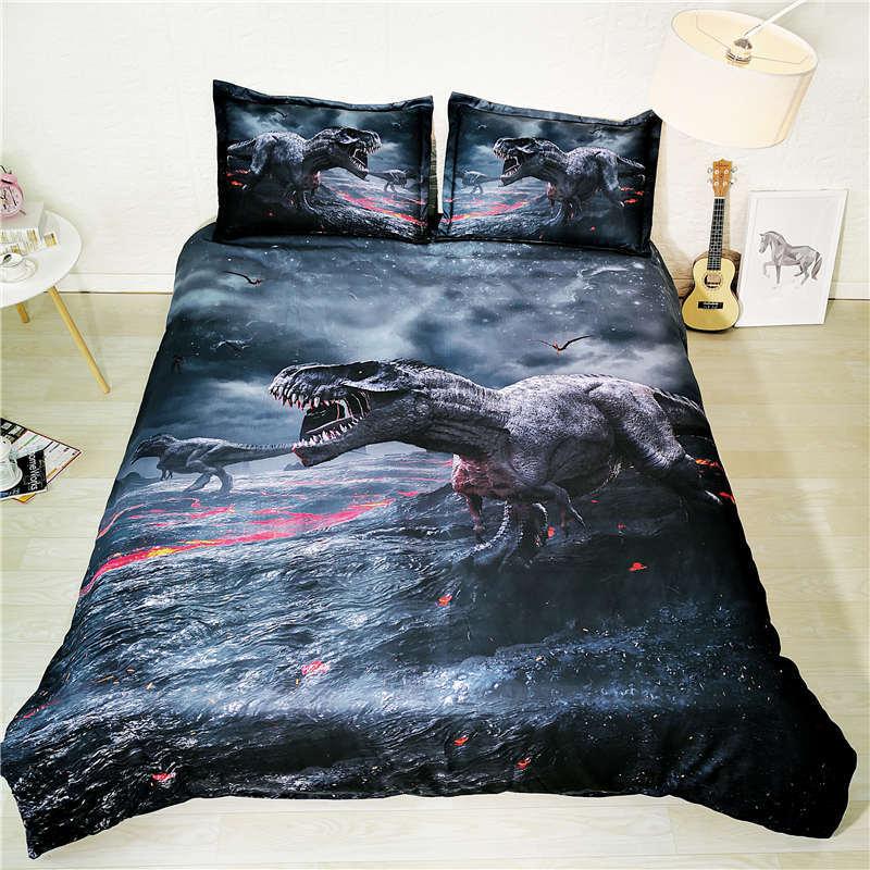 Dinosaur Bedding Set Queen Size Kids Duvet Cover 3d Bed