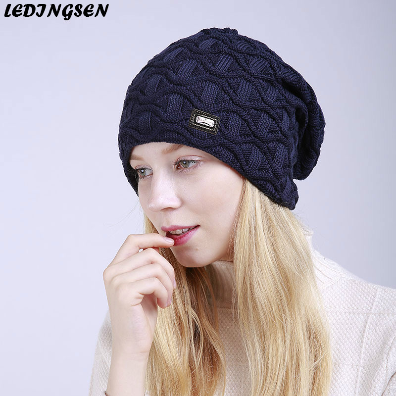 LEDINGSEN 2018 Autumn Blue Warm Fleece Thick Warm Knitted   Skullies     Beanies   Women Winter Knitting Hats harajuku Female Cap