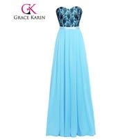 Grace Karin GK000003 Pretty Adult Blue Bridesmaid Dresses 100 Real Sweetheart Chiffon Lace Long Bridesmaid Gown