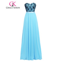 Grace Karin Pretty Adult Blue Bridesmaid Dresses 100% Real Sweetheart Chiffon Lace Long Bridesmaid Gown Formal Dress Clearance