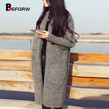 BEFORW Harajuku Autumn Winter Sweaters Female Long Cardigans Korea Fashion Knit Sweater Women Long Sleeve Casual Loose Sweater