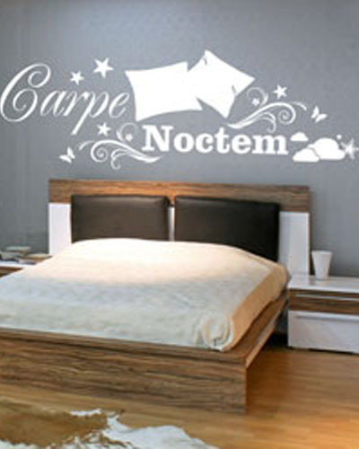 Bedroom White Wall Sticker With Pillows Latin Carpe Noctem Seize The Night Vinyl Wall Ar ...